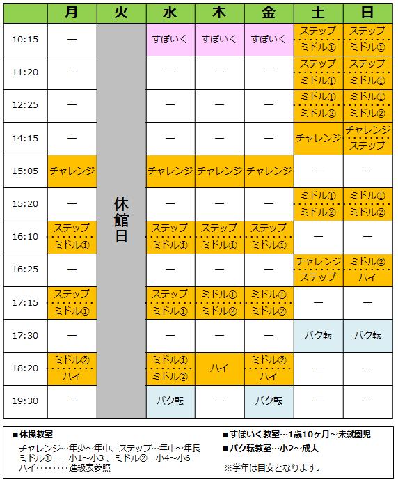 東浦和校の週間スケジュール