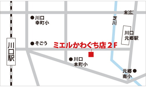 ミエルかわぐち店の地図