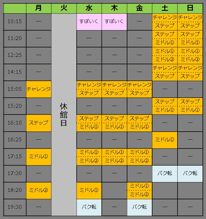 ソヨカふじみ野店の週間スケジュール