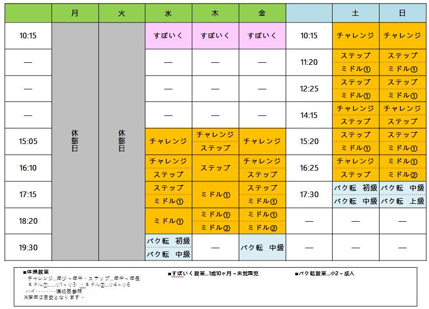 ソコラ武蔵小金井校の週間スケジュール