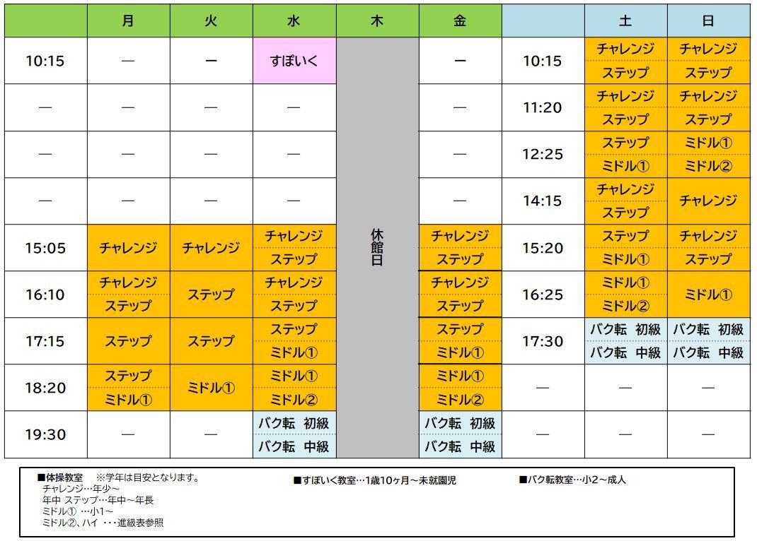 マルイファミリー志木校 ※11/8(月)OPENの週間スケジュール